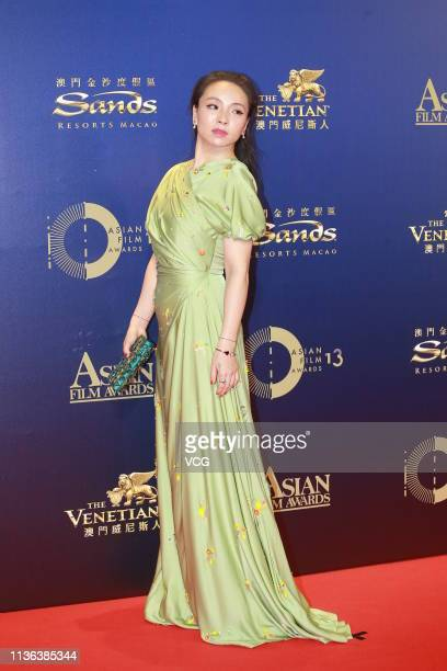 Actress Chloe Maayan poses on the red carpet of the 13th Asian Film Awards on March 17 2019 in Hong Kong China