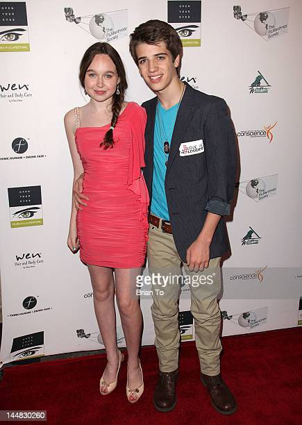 Actress Chloe Madison and actor Brandon Tyler Russell attend 2012 FILManthropy Festival Torch Awards Gala at Bergamot Station on May 19 2012 in Santa...
