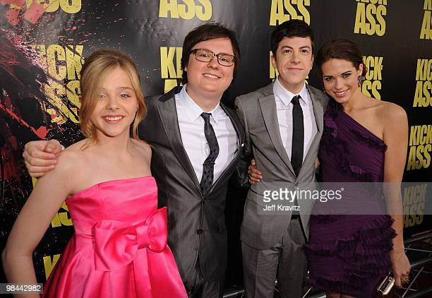 Actress Chloe Moretz actor Clark Duke actor Christopher MintzPlasse and actress Lyndsy Fonseca arrive at the KickAss premiere held at ArcLight...