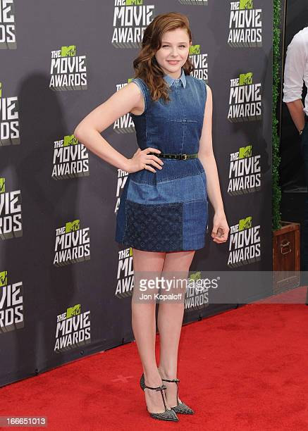 Actress Chloe Moretz arrives at the 2013 MTV Movie Awards at Sony Pictures Studios on April 14 2013 in Culver City California