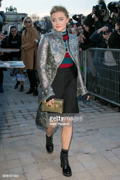 Actress Chloe Moretz attends the Louis Vuitton show as part of the Paris Fashion Week Womenswear Fall/Winter 2018/2019 on March 6 2018 in Paris France