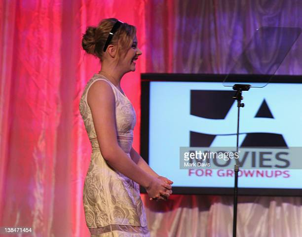 Actress Chloe Moretz speaks onstage at AARP Magazine's 11th Annual Movies for Grownups Awards Gala at the Beverly Wilshire Four Seasons Hotel on...