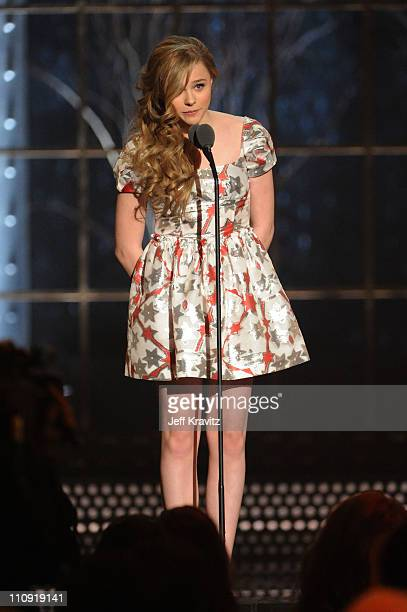 Actress Chloe Moretz speaks onstage at the First Annual Comedy Awards at Hammerstein Ballroom on March 26, 2011 in New York City.