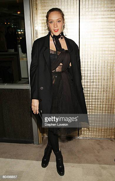 Actress Chloe Sevigny attends a dinner for My Blueberry Nights hosted by The Cinema Society and IWC at The Soho Grand Hotel on April 02 2008 in New...