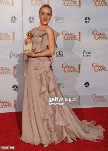 Actress Chloe Sevigny poses in the press room with her Best Performance by an Actress in a Supporting Role in a Series MiniSeries or Motion Picture...