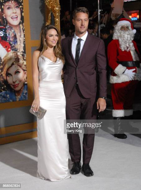 Actress Chrishell Stause and actor Justin Hartley attend the premiere of STX Entertainment's 'A Bad Mom's Christmas' at Regency Village Theatre on...