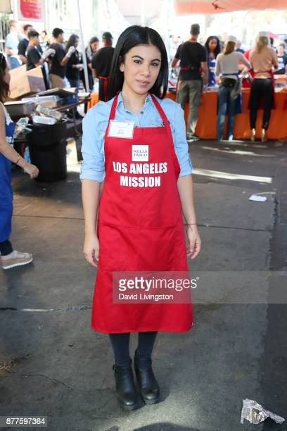 Actress Chrissie Fit is seen at the Los Angeles Mission Thanksgiving Meal for the homeless at the Los Angeles Mission on November 22 2017 in Los...