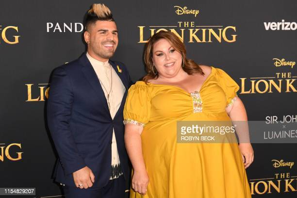 "Actress Chrissy Metz and a guest arrive for the world premiere of Disney's ""The Lion King"" at the Dolby theatre on July 9, 2019 in Hollywood."