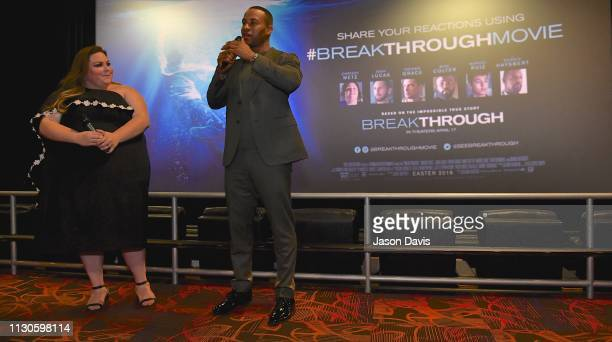 Actress Chrissy Metz and Producer DeVon Franklin introduce the film 'Breakthrough' at Regal Green Hills on March 14 2019 in Nashville Tennessee