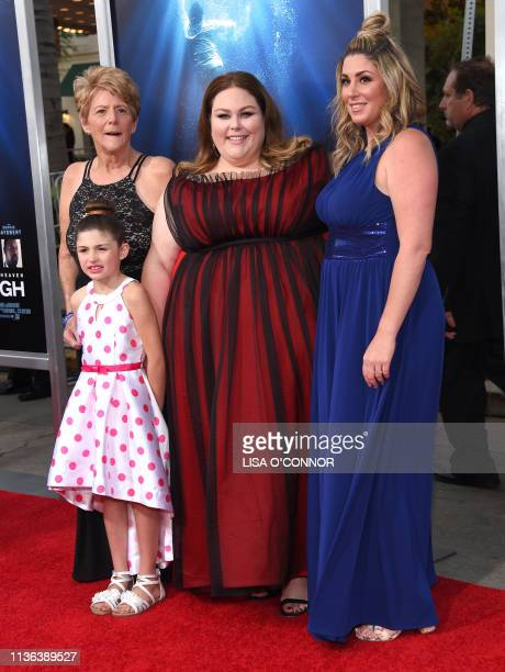 Actress Chrissy Metz her mom Denise Hodge halfsister Morgana Witt and her daughter Dallis Marie arrive for the 'Breakthrough' Los Angeles premiere at...