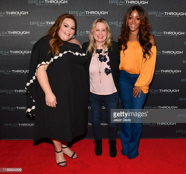 Actress Chrissy Metz President Universal Music Group Cindy Mabe and Singer/Songwriter Mickey Guyton attend the 'Breakthrough' VIP Reception at Table...