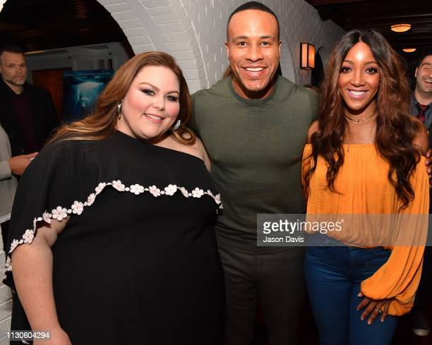 Actress Chrissy Metz Producer DeVon Franklin and Singer/Songwriter Mickey Guyton attend the Breakthrough VIP Reception at Table 3 on March 14 2019 in...