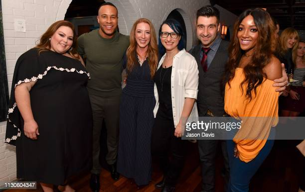 Actress Chrissy Metz producer DeVon Franklin singer/songwriter Mickey Guyton and VIP guests attend the 'Breakthrough' VIP Reception at Table 3 on...