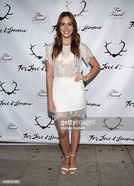 Actress Christa B Allen attends For Love and Lemons annual SKIVVIES party cohosted by Too Faced and performance by The Shoe at The Carondelet House...