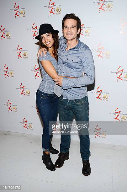 Actress Christel Khalil and actor Greg Rikaart attend the 'The Young The Restless' 40th anniversary cakecutting ceremony at CBS Television City on...