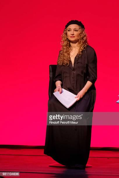 Actress Christelle Chollet performs Les Monologues du Vagin during 'Paroles Citoyennes 10 shows to wonder about the society' at Le Comedia on March...