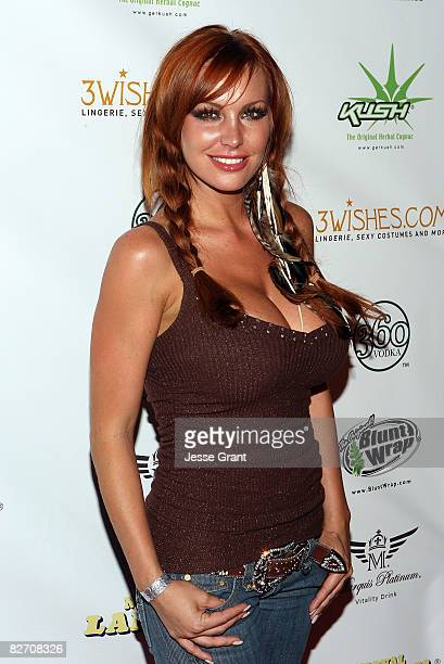 Actress Christi Shake arrives at National Lampoon's Night with The Girls Next Door event at the Playboy Mansion on September 6 2008 in Los Angeles...