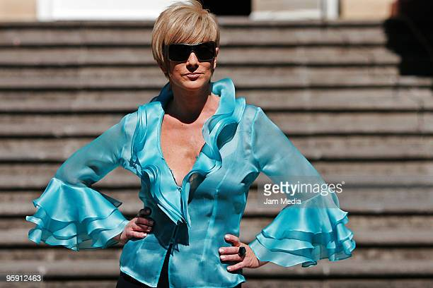 Actress Christian Bach during the presentation of the new tv soap opera of Aztec TV 'Infamia' at location in Coyoacan on January 20 2010 in Mexico...