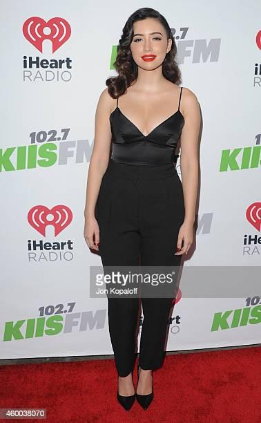 Actress Christian Serratos arrives at KIIS FM's Jingle Ball 2014 at Staples Center on December 5 2014 in Los Angeles California