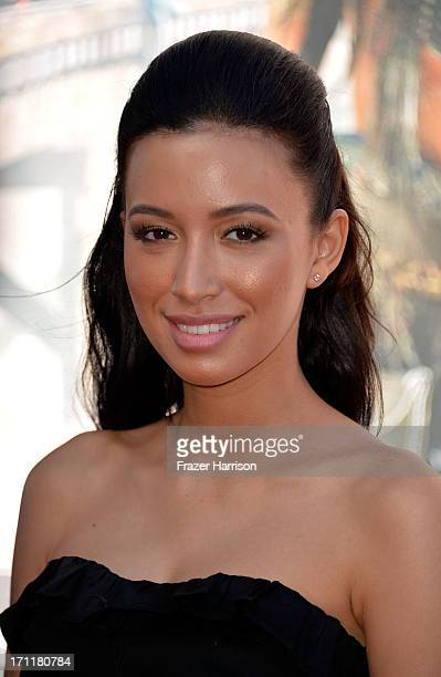 Actress Christian Serratos arrives at the premiere of Walt Disney Pictures' 'The Lone Ranger' at Disney California Adventure Park on June 22 2013 in...