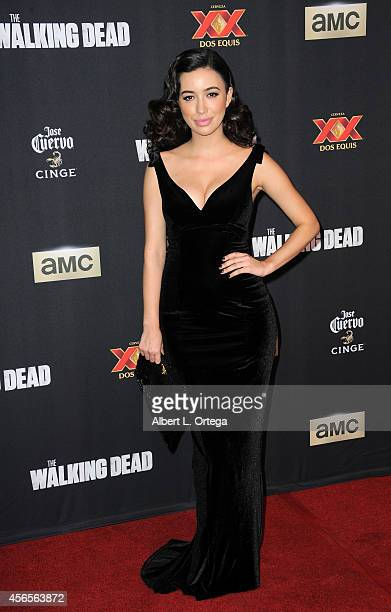 Actress Christian Serratos arrives for the Season 5 Premiere Of 'The Walking Dead' held at AMC Universal City Walk on October 2 2014 in Universal...