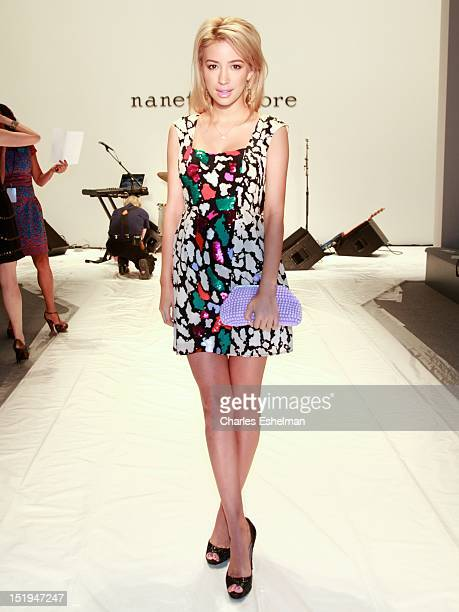 Actress Christian Serratos attends the Nanette Lepore Spring 2013 MercedesBenz Fashion Week Show at The Stage Lincoln Center on September 12 2012 in...