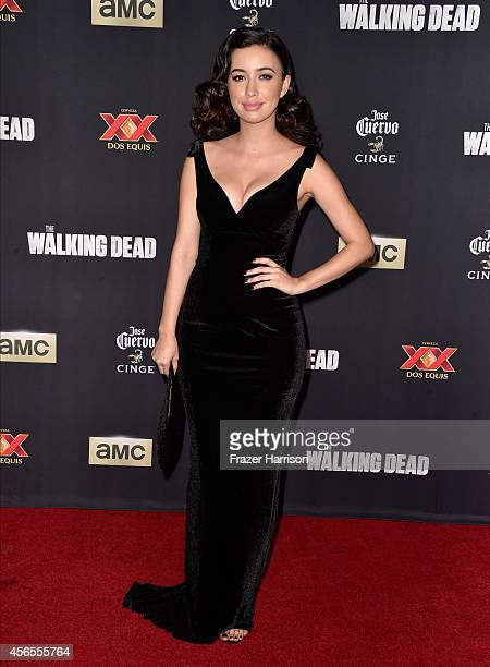 Actress Christian Serratos attends the season 5 premiere of 'The Walking Dead' at AMC Universal City Walk on October 2 2014 in Universal City...