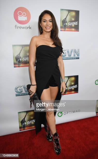 Actress Christiana Leucas arrives at premiere of GVN Releasing's Shine at at Harmony Gold on October 2 2018 in Los Angeles California
