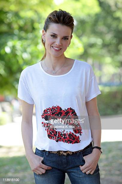 Actress Christiane Filangieri attends I Liceali 3 TV series photocall at Villa Borghese on May 10 2011 in Rome Italy