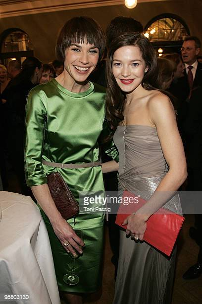Actress Christiane Paul and actress Hannah Herzsprung attend the afterparty of the Bavarian Movie Award at Prinzregententheater on January 15 2010 in...