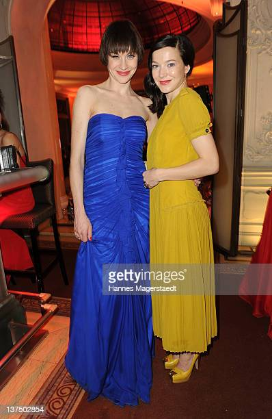 Actress Christiane Paul and Hannah Herzsprung attend the German Filmball at the Hotel Bayerischer Hof on January 21 2012 in Munich Germany
