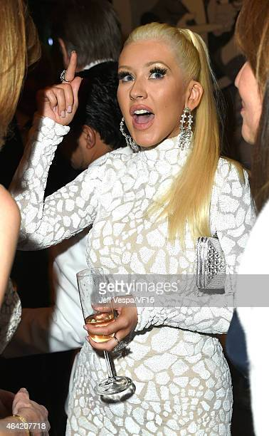 Actress Christina Aguilera attends the 2015 Vanity Fair Oscar Party hosted by Graydon Carter at the Wallis Annenberg Center for the Performing Arts...