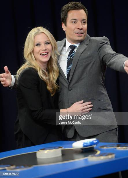 """Actress Christina Applegate and host Jimmy Fallon visit """"Late Night With Jimmy Fallon"""" at Rockefeller Center on October 11, 2012 in New York City."""