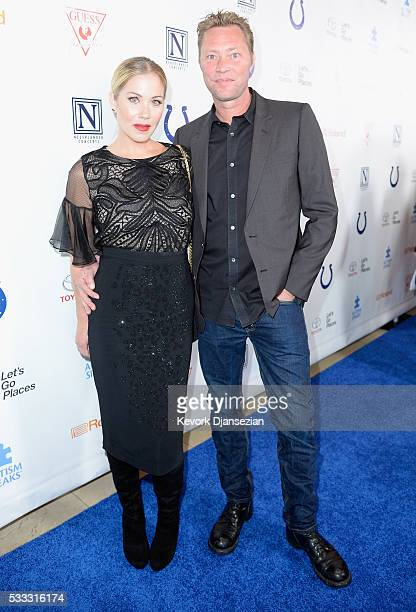 Actress Christina Applegate and musician Martyn LeNoble attend the 4th Annual Light Up The Blues at the Pantages Theatre on May 21 2016 in Hollywood...