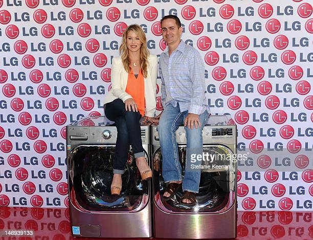 Actress Christina Applegate and Senior Vice President of Marketing of LG Electronics James Fishler attend '20 Magic Minutes A Family Celebration' To...
