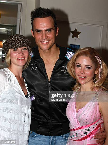Actress Christina Applegate poses and celebrates her birthday as she visits with Cheyenne Jackson and Kerry Butler backstage at The Musical Xanadu...