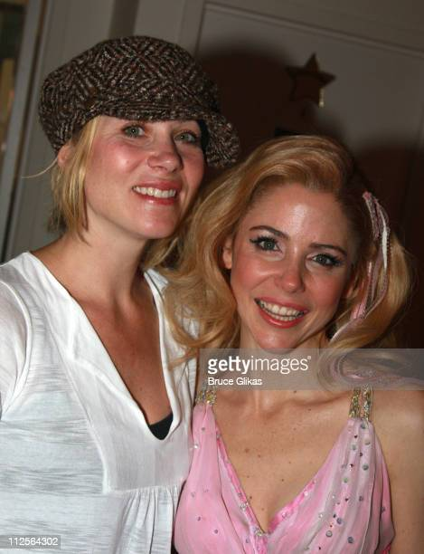 Actress Christina Applegate poses and celebrates her birthday as she visits with Kerry Butler backstage at The Musical Xanadu based on the movie of...