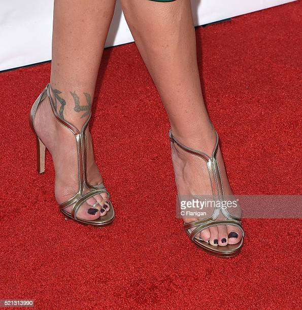 Actress Christina Applegate shoe detail one of the recipients of the Female Stars of the Year Award attends the CinemaCon Big Screen Achievement...
