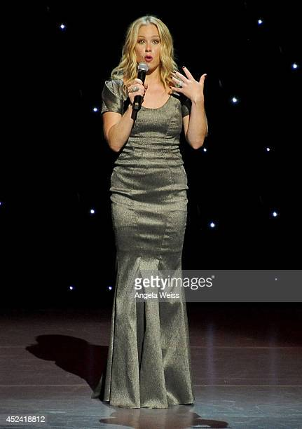 Actress Christina Applegate speaks onstage during Dizzy Feet Foundation's Celebration Of Dance Gala at The Music Center on July 19 2014 in Los...