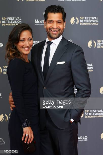 US actress Christina Chang and her spouse Soam Lall poses for a photocall during the 59th MonteCarlo Television Festival in Monaco on June 14 2019