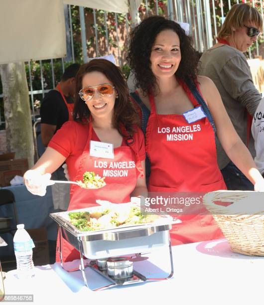 Actress Christina DeRosa and producer Tiffany Phillips at the Los Angeles Mission's Easter Celebration held at Los Angeles Mission on April 14, 2017...