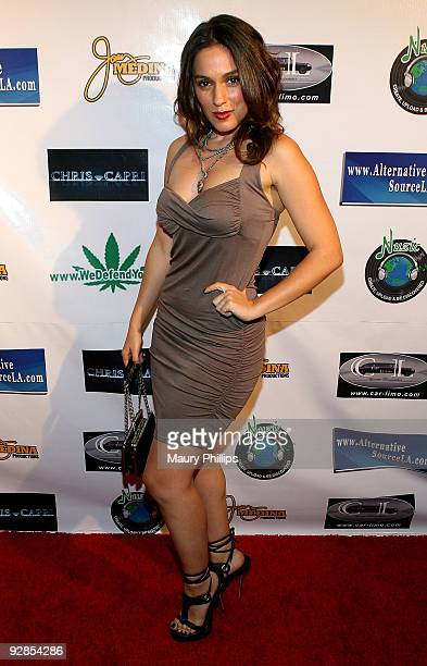 Actress Christina DeRosa arrives at Latin Comedy Cholo Slam at the Million Dollar Theater on November 5 2009 in Los Angeles California