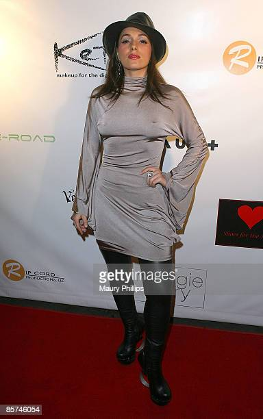"""Actress Christina DeRosa arrives at Maggie Barry's Fall 2009 Collection """"Rock Siren"""" hosted by Flaunt Magazine at Ivar on March 31, 2009 in..."""