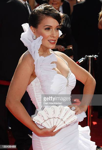 Actress Christina DeRosa arrives at the 60th Primetime Emmy Awards at the Nokia Theatre on September 21, 2008 in Los Angeles, California.