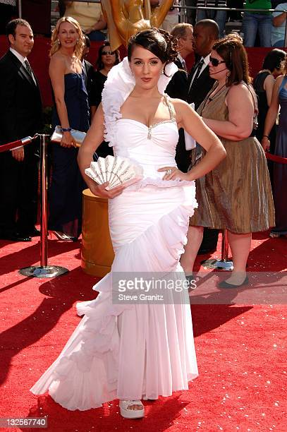 Actress Christina DeRosa arrives at the 60th Primetime Emmy Awards at the Nokia Theater on September 21, 2008 in Los Angeles, California.
