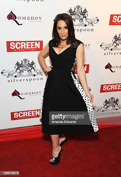 Actress Christina DeRosa arrives at the Screen International Pre-Golden Globes Party at Silverspoon on January 13, 2012 in West Hollywood, California.
