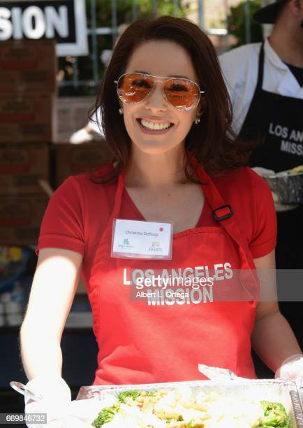 Actress Christina DeRosa at the Los Angeles Mission's Easter Celebration held at Los Angeles Mission on April 14, 2017 in Los Angeles, California.