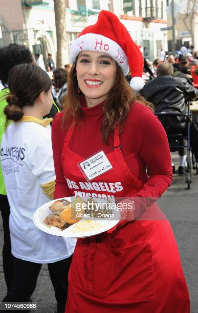 Actress Christina DeRosa attends the Los Angeles Mission Christmas On Skid Row held at Los Angeles Mission on December 21 2018 in Los Angeles...