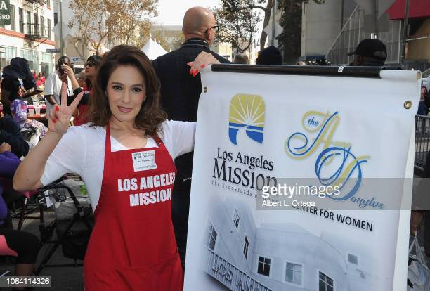 Actress Christina DeRosa attends the Los Angeles Mission hosts a Thanksgiving event for the homeless held at Los Angeles Mission on November 21 2018...