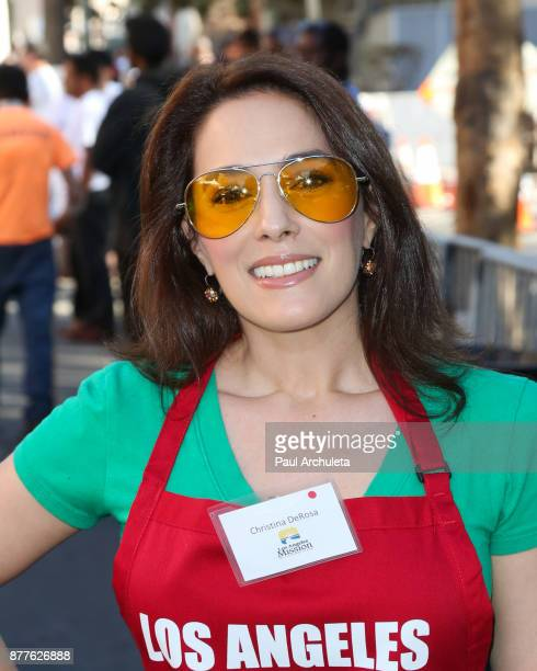 Actress Christina DeRosa attends the Thanksgiving Meal For The Homeless event at The Los Angeles Mission on November 22 2017 in Los Angeles California